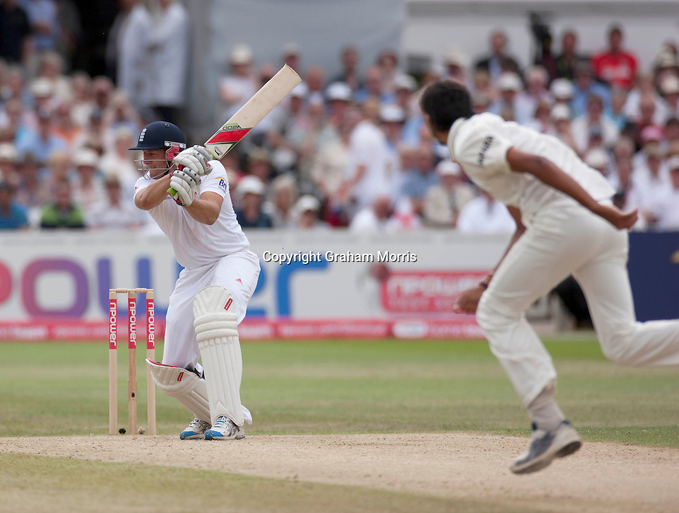 Tim Bresnan bats during the second npower Test Match between England and India at Trent Bridge, Nottingham.  Photo: Graham Morris (Tel: +44(0)20 8969 4192 Email: sales@cricketpix.com) 01/08/11