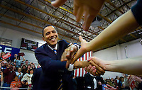 "Democratic presidential candidate Sen. Barack Obama (D-IL) shake the hands of supporters as he arrives at his ""meet the candidate"" rally with at the Carson City Community Center in Carson City NV., Monday Jan. 14, 2008."