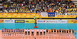 21-02-2016 NED: Bekerfinale Eurosped TVT - Set Up 65, Almere<br /> De volkslied van Twente voor dat de wedstrijd begint