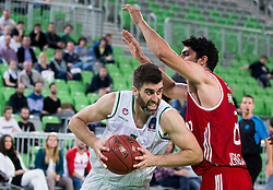 Drazen Bubnic #7 of KK Union Olimpija vs Lior Eliyahu of Hapoel during basketball match between KK Union Olimpija Ljubljana (SLO) and Hapoel Jerusalem (ISR) in Round #4 of 7Days EuroCup 2016/17, on October 26, 2016 in Arena Stozice, Ljubljana, Slovenia. Photo by Vid Ponikvar / Sportida
