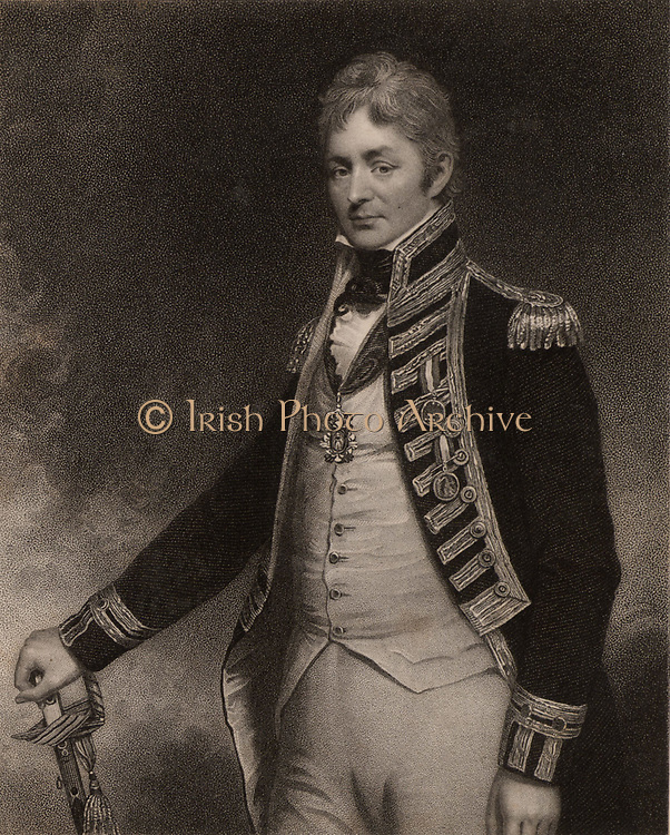 Thomas Troubridge (c1758-1807) English naval officer who rose to the rank of Rear-Admiral. Entered the Royal Navy in 1773, served in the East Indies, at the Battle of Cape St Vincent, and Aboukir Bay.  In 1807 his ship foundered of Madagascar and he and his whole crew were lost.   From 'National Portrait Gallery' by James Jerdan (London, 1830).