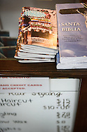 Bibles and Portals of Prayer books lay on the counter at Carolina's Hair Styling on Thursday, Jan. 28, 2016, in Sheboygan, Wis. LCMS Communications/Erik M. Lunsford