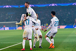 March 6, 2018 - Paris, U.S. - Real Madrid players celebrate during the Champions League match Real Madrid at Paris Saint-Germain on March 6, 2018 in Paris, France. (Photo by JB Autissier/Panoramic/Icon Sportswire) ****NO AGENTS---NORTH AND SOUTH AMERICA SALES ONLY****NO AGENTS---NORTH AND SOUTH AMERICA SALES ONLY* (Credit Image: © Jb Autissier/Icon SMI via ZUMA Press)
