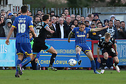 Barry Fuller (Captain) defender for AFC Wimbledon (2) in action during the Sky Bet League 2 match between AFC Wimbledon and Portsmouth at the Cherry Red Records Stadium, Kingston, England on 26 April 2016. Photo by Stuart Butcher.