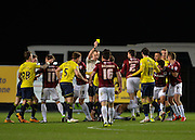 Northampton Town Midfielder Danny Rose is booked as the players clash before half time during the Sky Bet League 2 match between Oxford United and Northampton Town at the Kassam Stadium, Oxford, England on 16 February 2016. Photo by Adam Rivers.