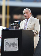 ATLANTA, GA - JUNE 08:  Former Atlanta Braves manager Bobby Cox #6 speaks at the number #29 retirement ceremony for John Smoltz before the game between the Atlanta Braves and the Toronto Blue Jays at Turner Field on June 8, 2012 in Atlanta, Georgia.  (Photo by Mike Zarrilli/Getty Images)