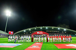 Players prior to the football match between National teams of Slovenia and Switzerland at Round 2 of Euro 2016 Qualifications, on October 9, 2014 in Stadium Ljudski vrt, Maribor, Slovenia. Photo by Vid Ponikvar / Sportida.com