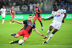 September 23, 2017 - Caen, Saxony, Frankrike - 170923, Fotboll, Franska Ligan, Caen - Amiens: (L-R) Frederic Guilbert of Caen and Harisson Manzala of Amiens during the Ligue 1 match between SM Caen and Amiens SC at Stade Michel D'Ornano on September 23, 2017 in Caen, France . (Photo by Dave Winter/Icon Sport).© BildbyrÅ'n - COP 75 - SWEDEN ONLY (Credit Image: © Dave Winter/Bildbyran via ZUMA Wire)