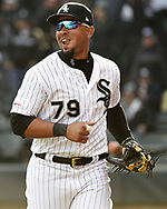 CHICAGO - APRIL 05:  Jose Abreu #79 of the Chicago White Sox looks on against the Seattle Mariners on April 5, 2019 at Guaranteed Rate Field in Chicago, Illinois.  (Photo by Ron Vesely)  Subject:  Jose Abreu