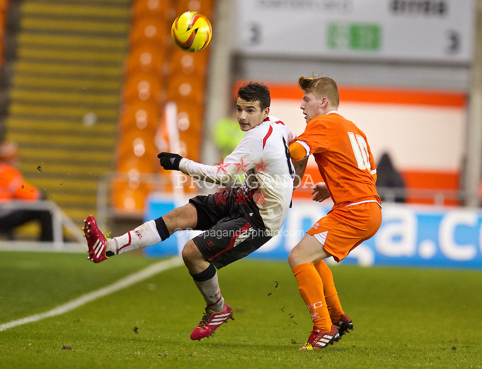 BLACKPOOL, ENGLAND - Wednesday, December 18, 2013: Liverpool's Pedro Chirivella in action against Blackpool during the FA Youth Cup 3rd Round match at Bloomfield Road. (Pic by David Rawcliffe/Propaganda)
