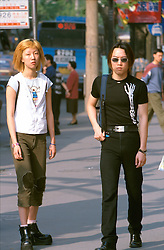 CHINA SHANGHAI MAY99 - Two new-age Chinese youngsters display the latest fashion in downtown Shanghai. jre/Photo by Jiri Rezac