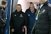 Sheffield United Manager Chris Wilder and Sheffield Wednesday Manager Steve Bruce during the EFL Sky Bet Championship match between Sheffield Wednesday and Sheffield United at Hillsborough, Sheffield, England on 4 March 2019.