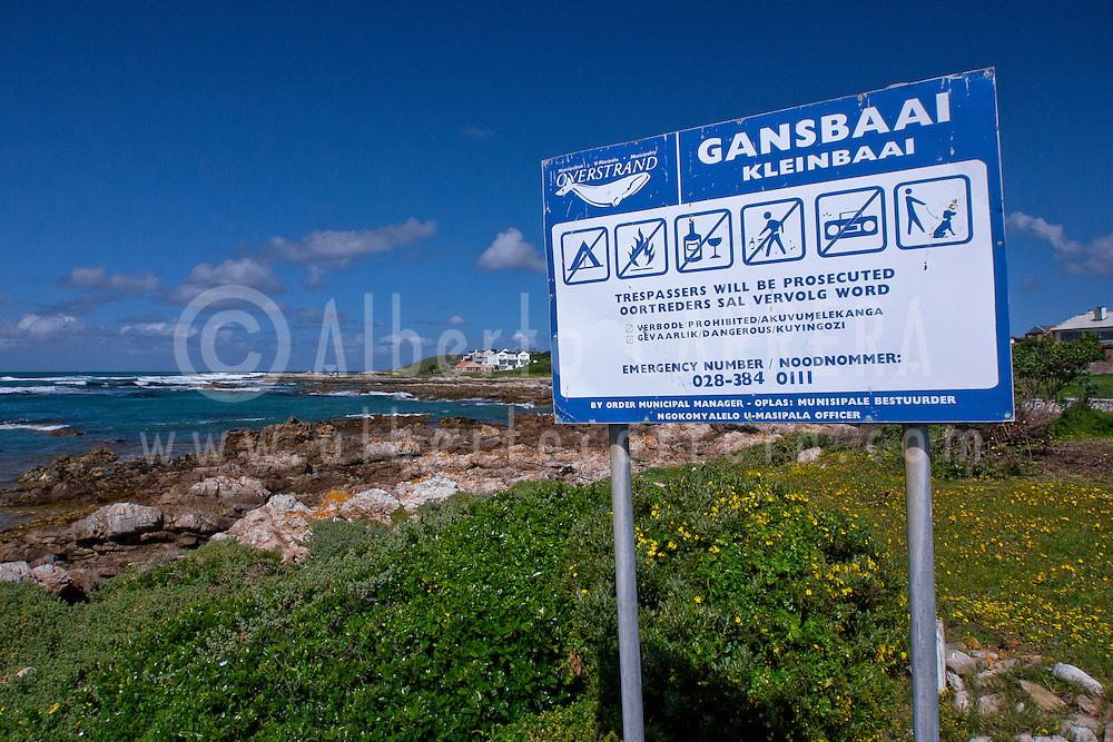 Alberto Carrera, Singboard Information, Kleinbaai, Gansbaai, Western Cape, Atlantic Ocean, South Africa, Africa