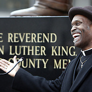 White Plains, NY / 2008 - Rev. Johnny Ceasar speaks at a ceremony to commemorate the 40th anniversary of the assassination of the Rev. Martin Luther King Jr. at the Westchester County Courthouse April 4, 2008.  A moment of silence occurred at 6:01pm, the time Dr. King was assassinated on the balcony of a Memphis hotel. ( Mike Roy / The Journal News )