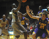 "Ole MIss forward Reginald Buckner (2)  vs. Louisiana State's Matt Derenbecker (21) at the C.M. ""Tad"" Smith Coliseum in Oxford, Miss. on Wednesday, February 9, 2011. Ole Miss won 66-60 and is now 4-5 in the Southeastern Conference."