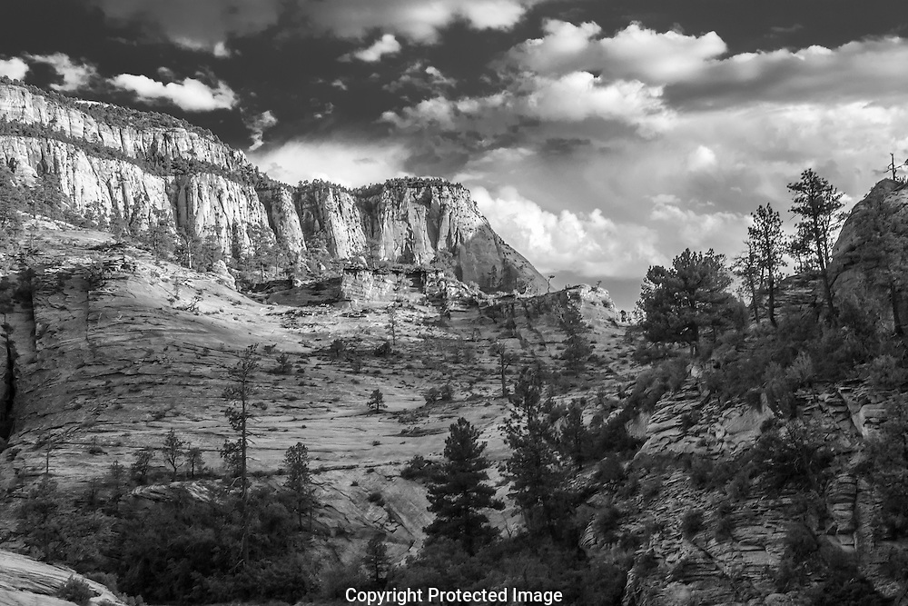 Black and White image of a summer storm descending on the East Mesa of Zion National Park in Utah.
