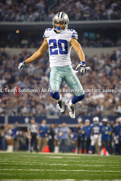 21 DEC 2014: Dallas Cowboys Cornerback Tyler Patmon (20) [12424] leaps to disrupt a fake punt pass during the NFL game between the Dallas Cowboys and the Indianapolis Colts at AT&T Stadium in Arlington, TX.
