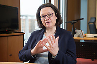 15 MAR 2018, BERLIN/GERMANY:<br /> Andrea Nahles, SPD Fraktionsvorsitzende, waehrend einem Interview, in ihrem Buero, Jakob-Kaiser-Haus, Deutscher Bundestag<br /> IMAGE: 20180315-01-006<br /> KEYWORDS: B&uuml;ro