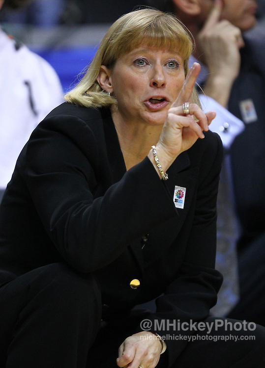 March 04, 2012; Indianapolis, IN, USA; Purdue Boilermakers head coach Sharon Versyp motions to the players against the Nebraska Cornhuskers during the finals of the 2012 Big Ten Tournament at Bankers Life Fieldhouse. Purdue defeated Nebraska 74-70 in 2OT. Mandatory credit: Michael Hickey-US PRESSWIRE