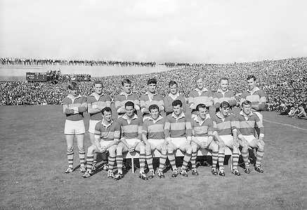All Ireland Senior Football Championship Final, Kerry v Down, 22.09.1968, 09.22.1968, 22nd September 1968, Down 2-12 Kerry 1-13, Referee M Loftus (Mayo)...The Kerry Senior Team, .Back row (from left) Eamon O'Donoghhue, Sean Burrows, Mick Morris, Mick O'Dwyer, Johnny Culloty, Paud O'Donoghue, D J Crowley, Mick Fleming. Front row (from left) Seamus Murphy, Mick O'Connell, Tom Prendergast, Pat Griffin (capt), Denis O'Sullivan, Brendan Lynch, Donie O'Sullivan,..Kerry Team.