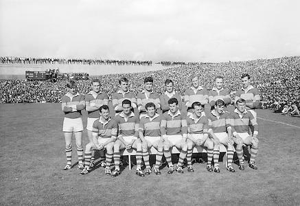 All Ireland Senior Football Championship Final, Kerry v Down, 22.09.1968, 09.22.1968, 22nd September 1968, Down 2-12 Kerry 1-13, Referee M Loftus (Mayo)...The Kerry Senior Team, .Back row (from left) Eamon O'Donoghhue, Sean Burrows, Mick Morris, Mick O'Dwyer, Johnny Culloty, Paud O'Donoghue, D J Crowley, Mick Fleming. Front row (from left) Seamus Murphy, Mick O'Connell, Tom Prendergast, Pat Griffin (capt), Denis O'Sullivan, Brendan Lynch, Donie O'Sullivan,..Kerry Team.