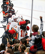 Calgary Flames celebrate their gaol during a 2017-2018 NHL hockey game against Anaheim Ducks in Anaheim, California, the United States, on Oct. 9, 2017.  Calgary Flames won 2-0. (Xinhua/Zhao Hanrong)