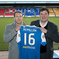 St Johnstone manager Tommy Wright pictured with new signing David McMillan at McDiarmid Park this morning after he signed a two and a half year deal…13.12.17<br />see story by Gordon Bannerman on 07729 865788<br />Picture by Graeme Hart.<br />Copyright Perthshire Picture Agency<br />Tel: 01738 623350  Mobile: 07990 594431