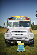 06212016 - Noblesville, Indiana, USA: A hippy bus sits in  the parking lot of Klipsch Music Center (Deer Creek) before members of the Grateful Dead perform as Dead and Company. The Grateful Dead's final show at  Deer Creek in July 1995 was marred by over a thousand fans crashing the gates leading to the next day's show being canceled. Grateful Dead guitarist Jerry Garcia died a few weeks later. (Jeremy Hogan/Polaris)