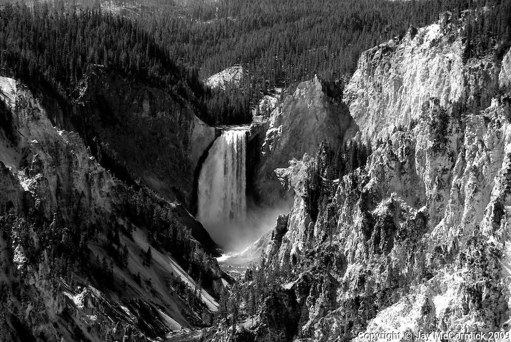Lower Falls of Yellowstone.  Shot at high noon for extremely contrasty BW shot