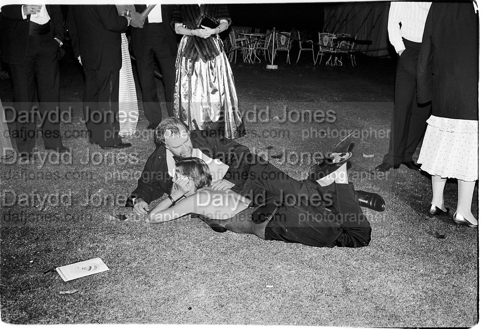 Bill McAllister; Maureen Docherty, Leukemia Ball. Hurlingham Club. London. 15 July 1985. <br /> <br /> SUPPLIED FOR ONE-TIME USE ONLY> DO NOT ARCHIVE. © Copyright Photograph by Dafydd Jones 248 Clapham Rd.  London SW90PZ Tel 020 7820 0771 www.dafjones.com