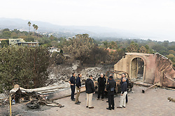 November 17, 2018 - Malibu, CA, United States of America - U.S President Donald Trump, joined by California Governor Jerry Brown, Governor-elect Gavin Newsom, and FEMA Administrator Brock Long tour fire damage to a suburban neighborhood November 17, 2018 in Malibu, California. (Credit Image: © Shealah Craighead via ZUMA Wire)