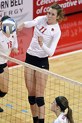 17 October 2014: Eliza Smith during an NCAA Missouri Valley Conference (MVC) womens volleyball match between the Northern Iowa Panthers and the Illinois State Redbirds for 1st place in the conference at Redbird Arena in Normal IL