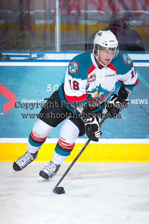 KELOWNA, CANADA - JANUARY 26: Cody Fowlie #18 of the Kelowna Rockets skates on the ice during warm up against the Prince Albert Raiders at the Kelowna Rockets on January 26, 2013 at Prospera Place in Kelowna, British Columbia, Canada (Photo by Marissa Baecker/Shoot the Breeze) *** Local Caption ***