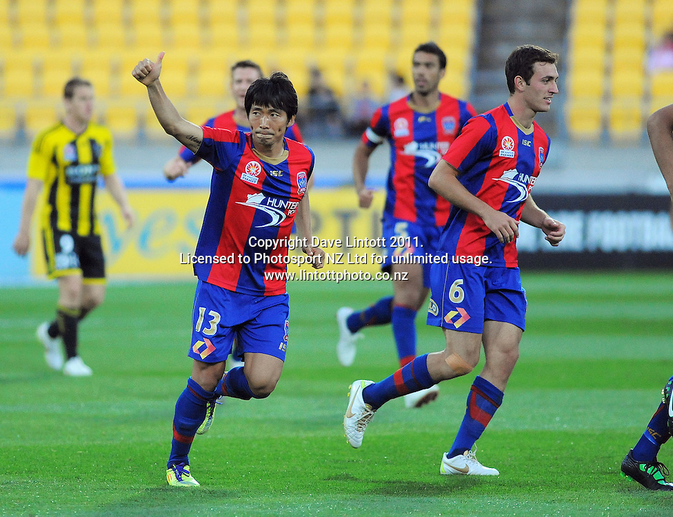 Jets' Sung-Hwan Byun celebrates his goal during the A-League football match between Wellington Phoenix v Newcastle Jets at Westpac Stadium, Wellington, New Zealand on Friday, 23 December 2011. Photo: Dave Lintott / lintottphoto.co.nz