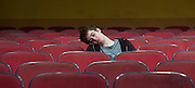 The Flick <br /> by Annie Baker <br /> at the Dorfman Theatre, National Theatre, Southbank, London, Great Britain <br /> 18th April 2016 <br /> <br /> <br /> Sam Heron as The Dreaming Man <br /> <br /> Photograph by Elliott Franks <br /> Image licensed to Elliott Franks Photography Services
