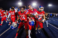 The Folsom Bulldogs celebrate their 54-35 win over the Central High School Grizzlies in the CIF NorCal Division I-AA title game, Friday Dec 8, 2017. The winner of this game will face the CIF SoCal winner in the State Championship game at Sacramento State, Friday Dec 15th.<br /> photo by Brian Baer