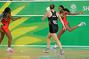 8th April 2018, Gold Coast, Gold Coast Convention and Exhibition Centre, Australia; Commonwealth Games day 4; Netball Malawi versus New Zealand;  Mwai Kumwenda catches the pass