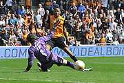 Hull City striker Abel Hernandez (9) shoots towards goal during the Sky Bet Championship match between Hull City and Rotherham United at the KC Stadium, Kingston upon Hull, England on 7 May 2016. Photo by Ian Lyall.