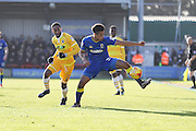 AFC Wimbledon striker Lyle Taylor (33) and Millwall defender Shaun Cummins (2) during the EFL Sky Bet League 1 match between AFC Wimbledon and Millwall at the Cherry Red Records Stadium, Kingston, England on 2 January 2017. Photo by Stuart Butcher.