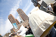 International Pillow Fight Day - Hundreds of people were equipped with soft pillows for a giant pillow fight at 3 PM, Saturday in Union Square in New York City.
