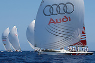 Platoon Powered by Team Germany leads the fleet home during the practice race of the AUDI Medcup in Cartagena