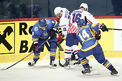 18.04.2016, Dom Sportova, Zagreb, CRO, IIHF WM, Ukraine vs Kroatien, Division I, Gruppe B, im Bild ALEKSYUK Volodymyr, MILICIC Matija. // during the 2016 IIHF Ice Hockey World Championship, Division I, Group B, match between Uraine and Croatia at the Dom Sportova in Zagreb, Croatia on 2016/04/18. EXPA Pictures © 2016, PhotoCredit: EXPA/ Pixsell/ Sanjin Strukic<br /> <br /> *****ATTENTION - for AUT, SLO, SUI, SWE, ITA, FRA only*****
