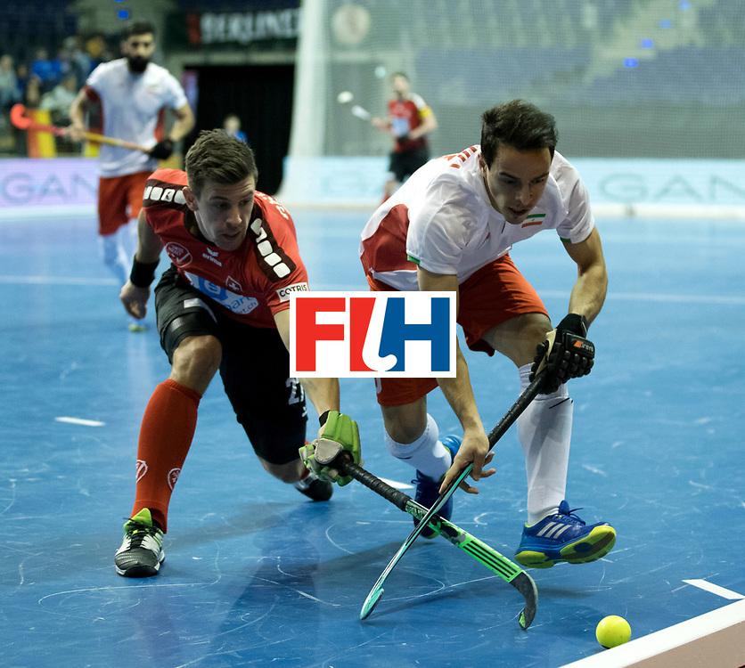 BERLIN - Indoor Hockey World Cup<br /> Men: Iran - Switzerland<br /> foto: GREDER Marti and BOHLOULI Mohsen.<br /> COPYRIGHT WILLEM VERNES