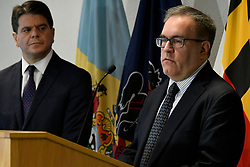 Andrew Wheeler, EPA Acting Administrator and Cosmo Servidio, EPA Regional Administrator announce the U.S. Environmental Protection Agency Per- and Polyfluoroalkyl Substances (PFAS) Action Plan outlining, enforcement, clean up strategies and expansion of monitoring activities of PFAS in the environment, during a February 14, 2019 press conference at the agencies regional office in Philadelphia, PA.