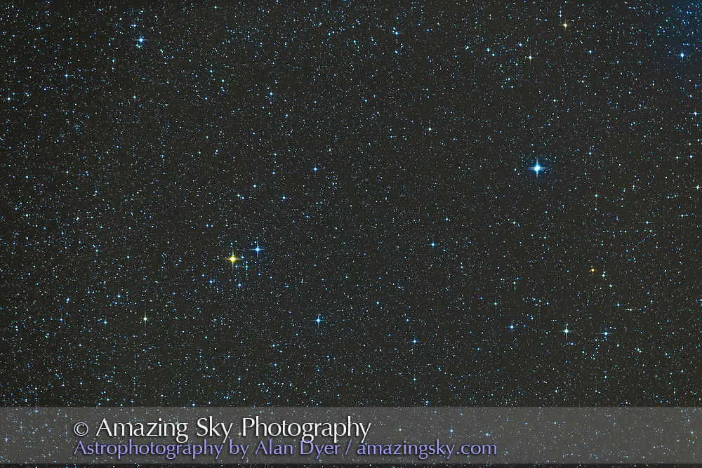 Delta 1 and 2 Lyrae (at left), a double star in Lyra with the loose open cluster Stephenson 1, plus the double star Zeta Lyrae (at right). This is a stack of 4 x 4 minute exposures with the TMB 92mm apo refractor at f/4.4 with the Borg 0.85x field flattener/reducer and Canon 6D at ISO 800.