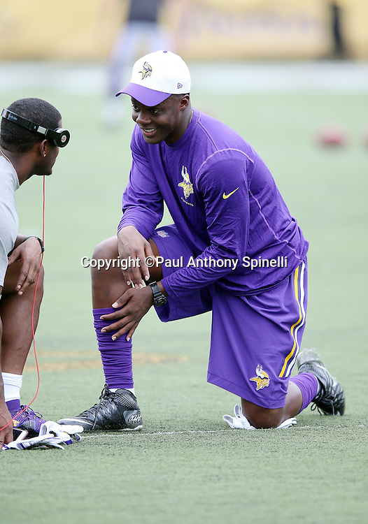 Minnesota Vikings quarterback Teddy Bridgewater (5) smiles during a conversation on the field before the 2015 NFL Pro Football Hall of Fame preseason football game against the Pittsburgh Steelers on Sunday, Aug. 9, 2015 in Canton, Ohio. The Vikings won the game 14-3. (©Paul Anthony Spinelli)