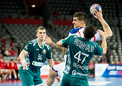 Petar Djordjic of Serbia vs Aliaksandr Padshyvalau of Belarus during handball match between National teams of Serbia and Belarus on Day 7 in Main Round of Men's EHF EURO 2018, on January 24, 2018 in Arena Zagreb, Zagreb, Croatia.  Photo by Vid Ponikvar / Sportida