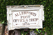 Sign for Old Post Office and village shop at Allerford on Exmoor, Somerset, United Kingdom