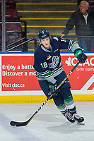 KELOWNA, BC - JANUARY 30: Andrej Kukuca #18 of the Seattle Thunderbirds warms up with the puck against the Kelowna Rockets at Prospera Place on January 30, 2019 in Kelowna, Canada. (Photo by Marissa Baecker/Getty Images)