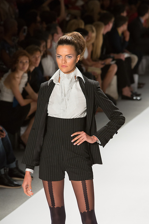 Black and white formal romper with matching jacket. By Zang Toi, shown at his Spring 20132 Fashion Week show in New York.